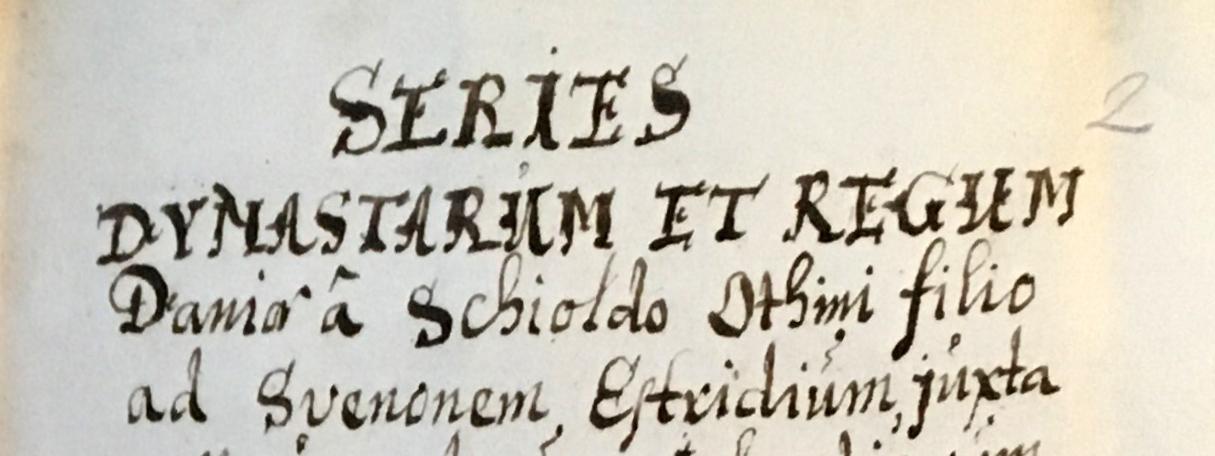 Titelbladet tilSeries dynastarum et regum Daniæ af Tormodus Torfæus i AM 862 4to