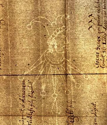 Hovedmærket narren med modmærket PR på arket i AM 862 4to (klik for større billede)
